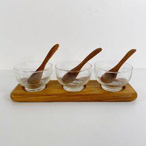 Vintage 7 Piece Teak & Glass Condiment Serving Set